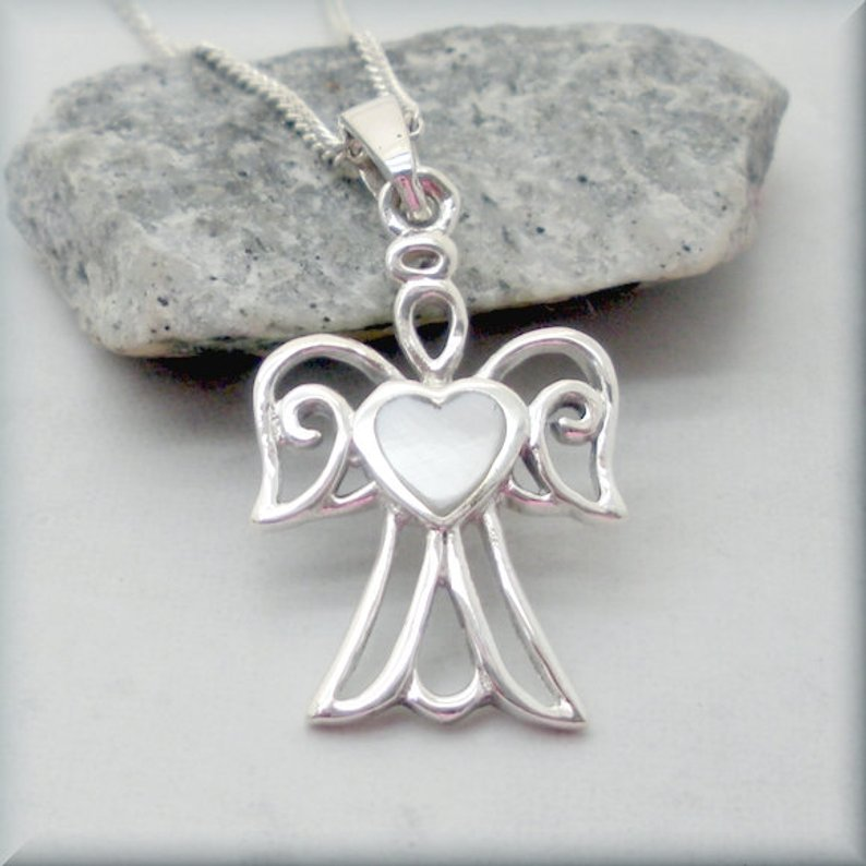 Gaurdian angel necklace with heart