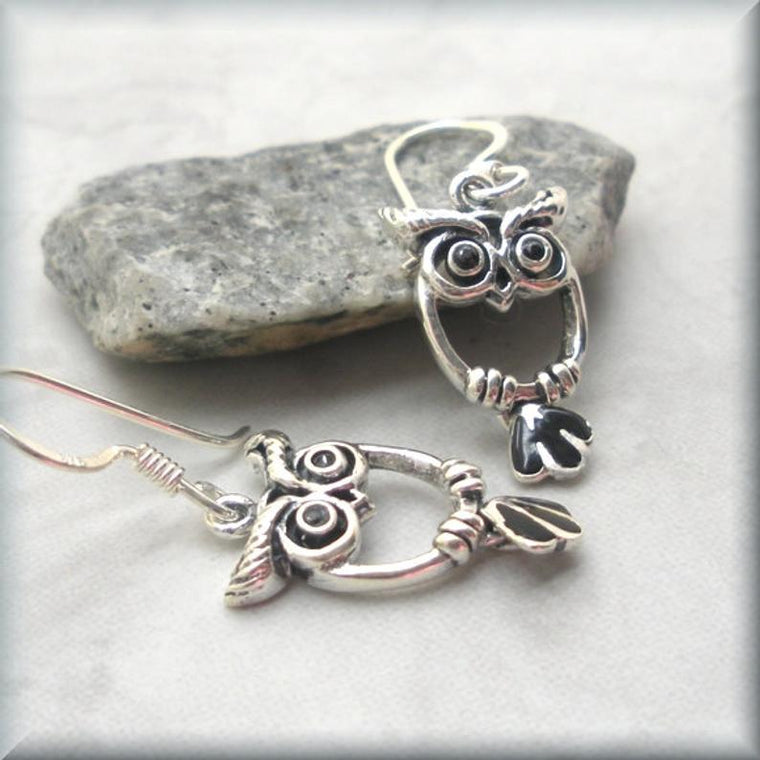 Little Owl Earrings with Moveable Tails - 925 Sterling Silver