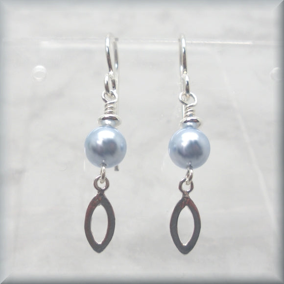 Sterling silver swarovski pearl earrings in light blue