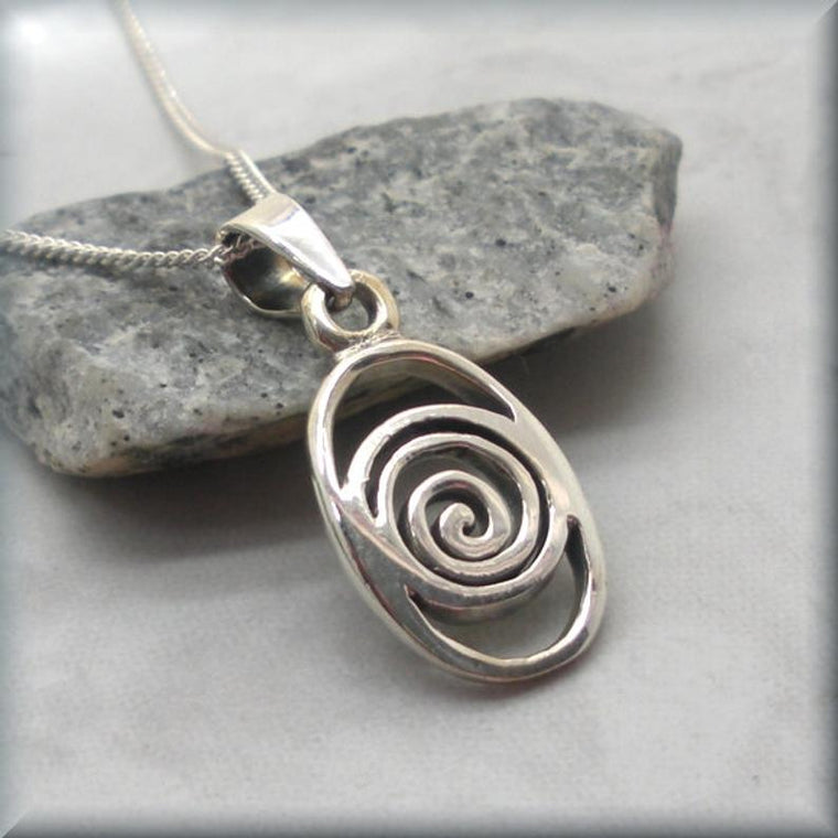 Celtic Swirl Spiral Necklace - 925 Sterling Silver