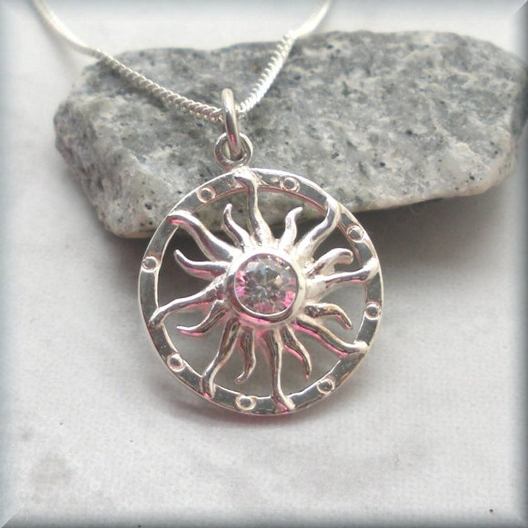 Silver Sun Necklace with CZ Center