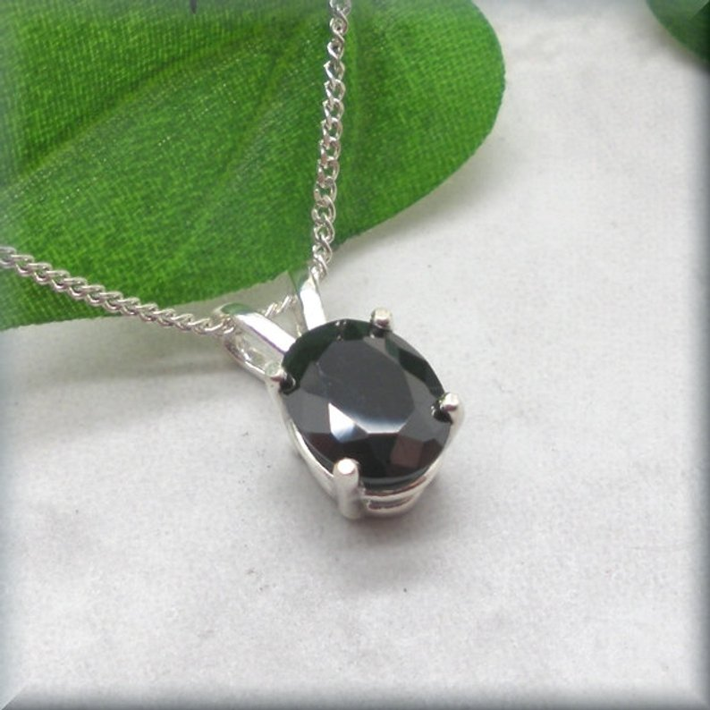oval black cubic zirconia necklace in sterling silver