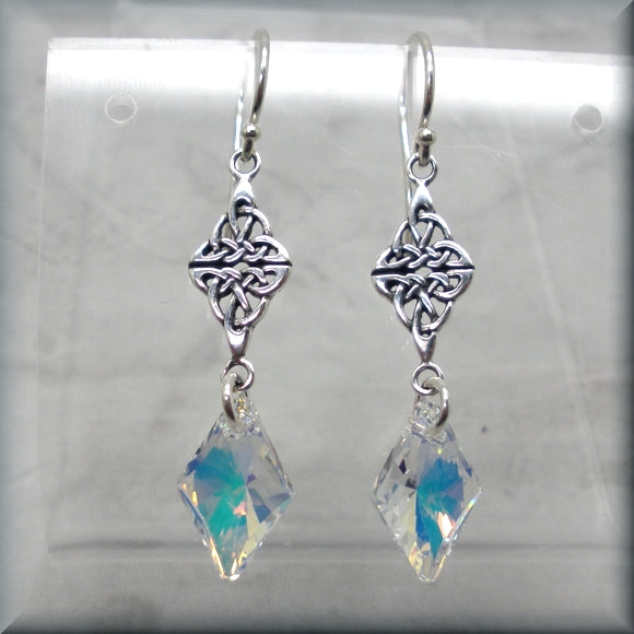 Swarovski AB crystal earrings with Celtic knot accent