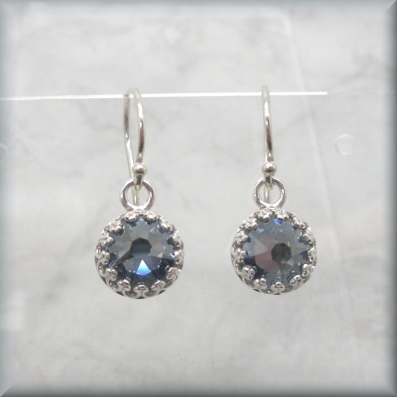 Crystal blue shade earrings in sterling silver