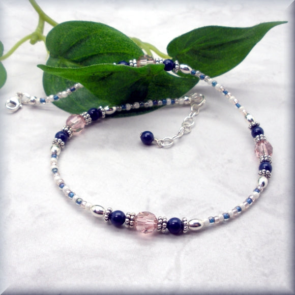 Vintage Pink Crystal and Navy Blue Pearl Anklet - Adjustable Length