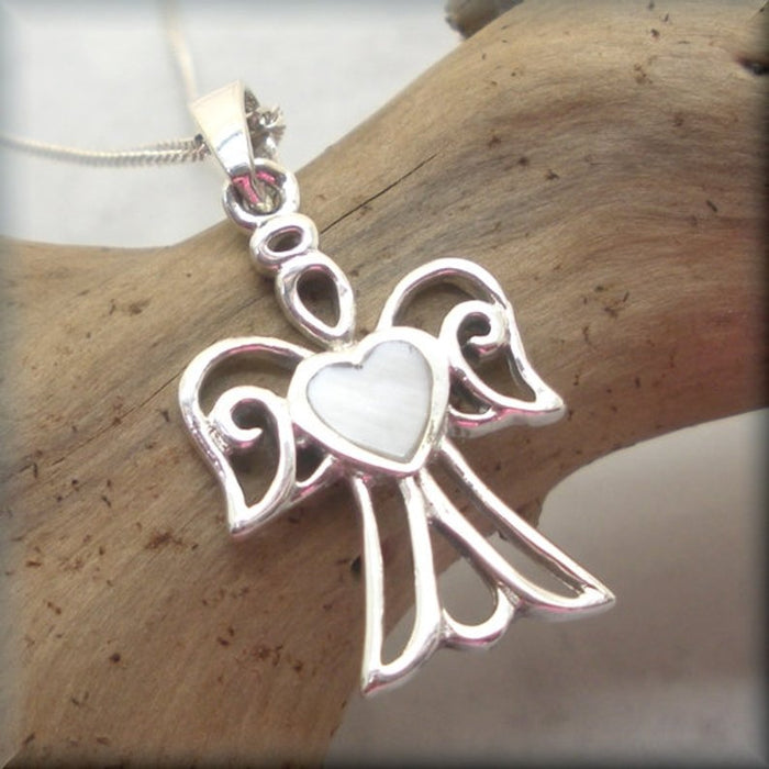 sterling silver guardian angel necklace with MOP heart