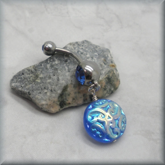 Iridescent Blue Belly Ring