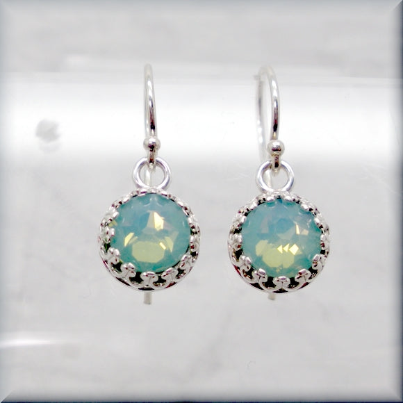 Swarovski crystal earrings in pacific opal