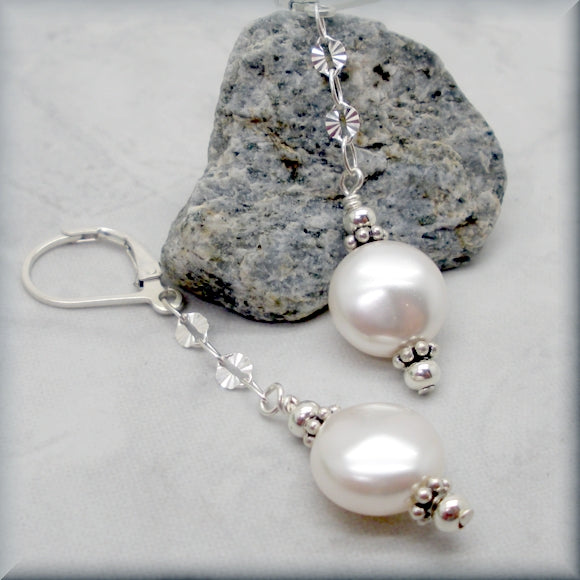 White Coin Pearl Earrings with Sterling Silver Accents