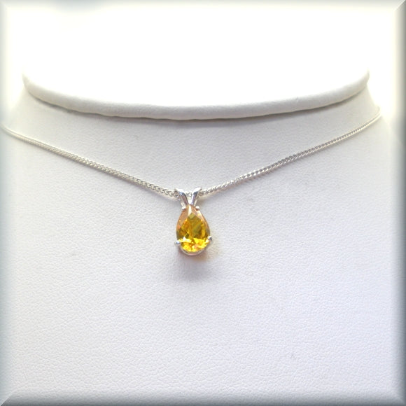 Yellow pear shaped cz stone in 925 sterling silver by Bonny Jewelry