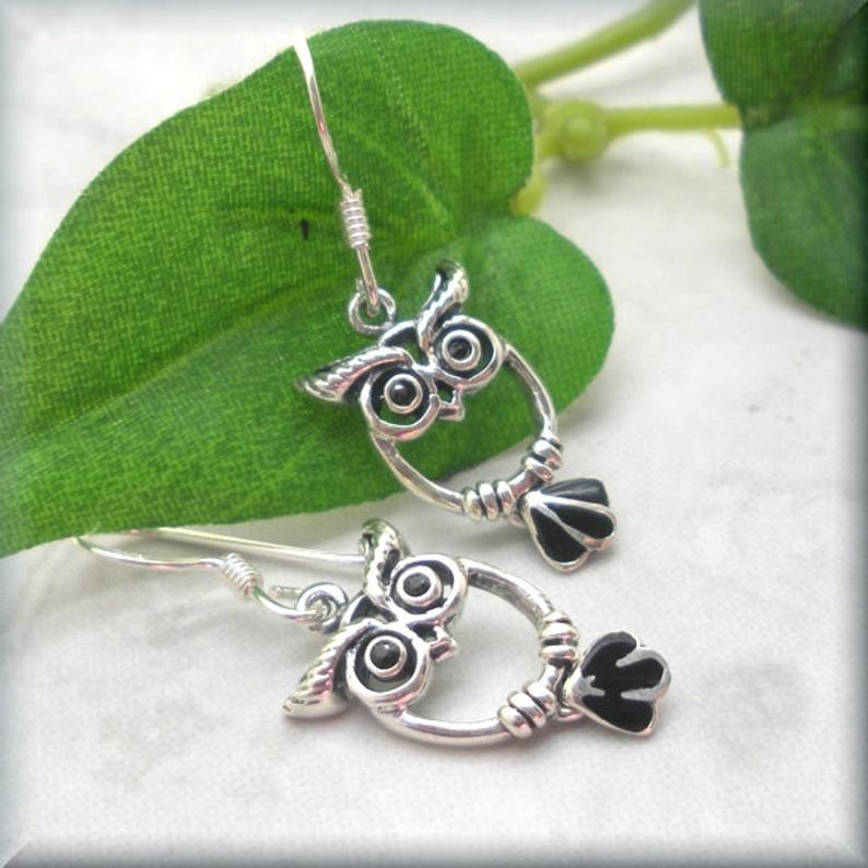 cute little owl earrings with black feather tails