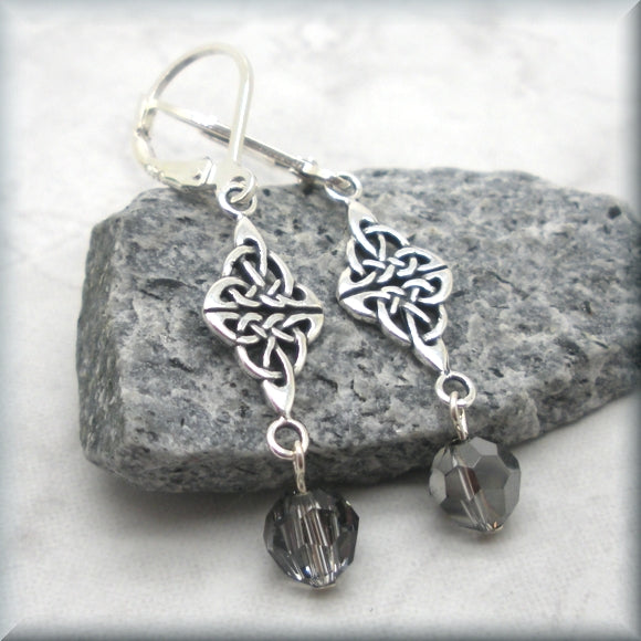 Crystal silver night earrings with celtic knot accent by Bonny Jewelry