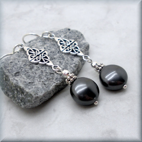 Sterling silver black coin pearl earrings