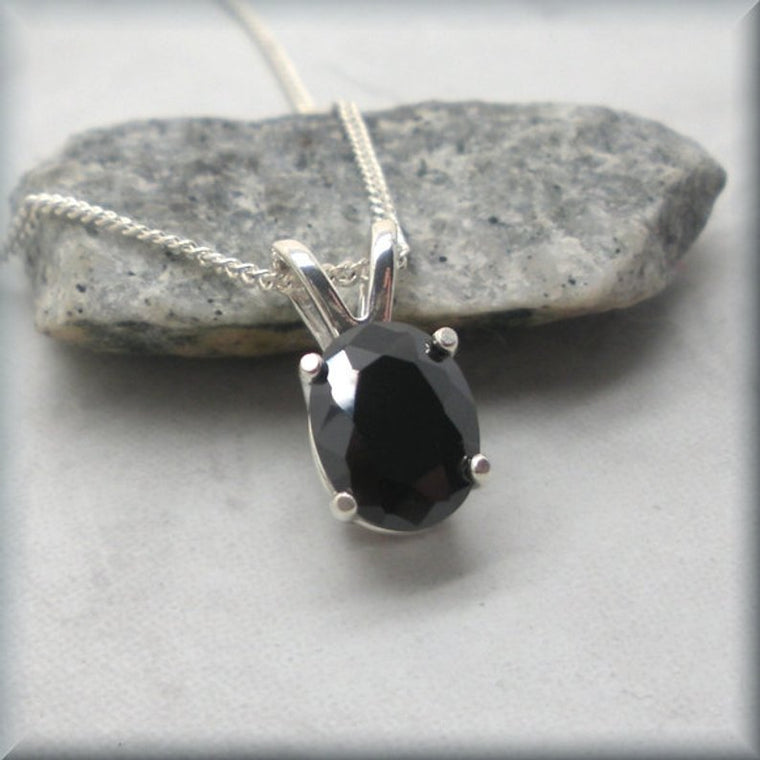 Oval Black Cubic Zirconia Necklace