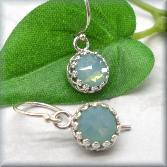 Seafoam green crystal earrings