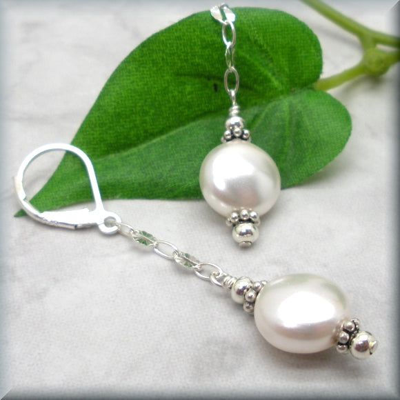 Long white pearl dangle sterling silver earrings