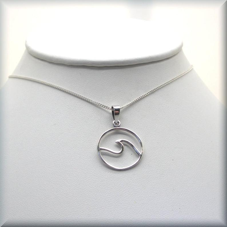 ocean wave pendant in sterling silver