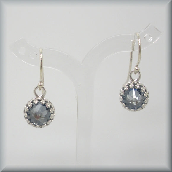 Sterling silver earring with Swarovski crystal blue shade crystals