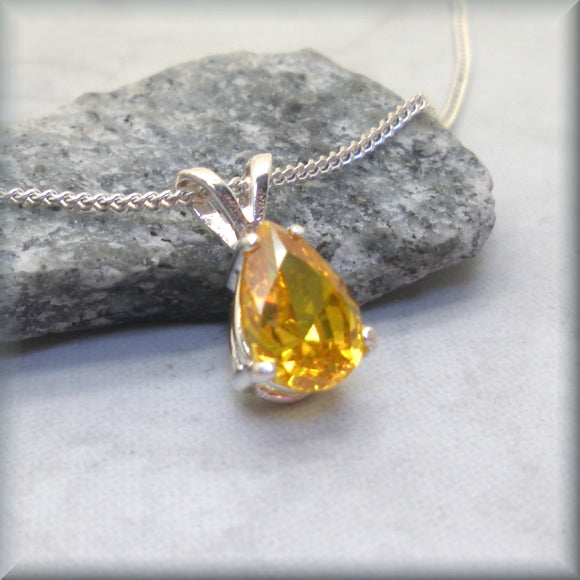 Yellow CZ necklace with sterling silver setting by Bonny Jewelry