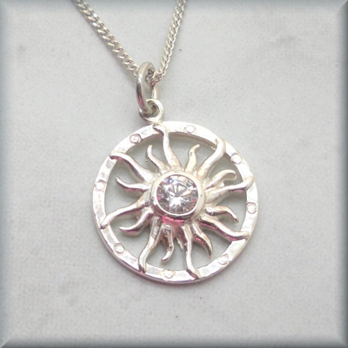 925 sterling silver sun necklace with cz center