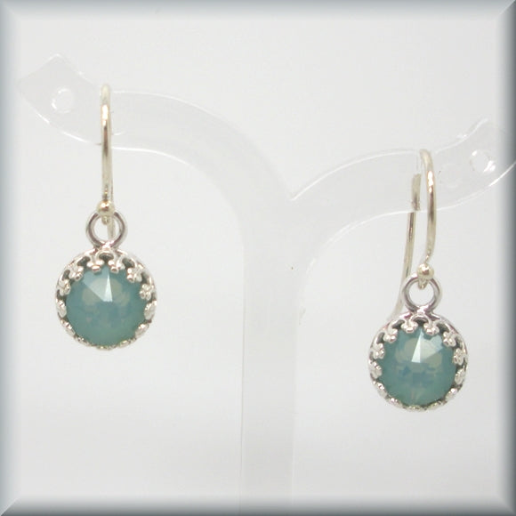 Green crystal earrings in a sterling silver bezel setting