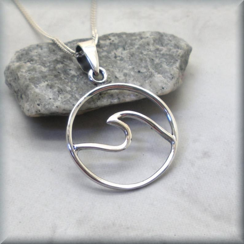 925 sterling silver wave necklace