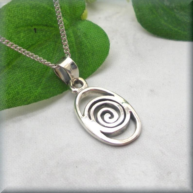 925 sterling silver Celtic spiral knot necklace