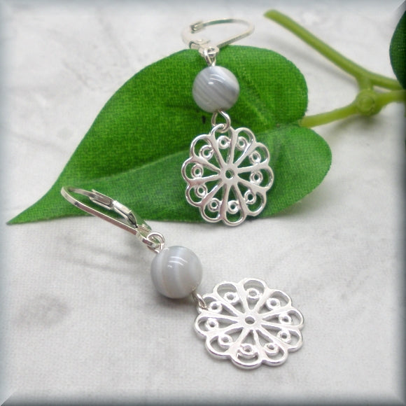Filigree White Lace Agate Earrings
