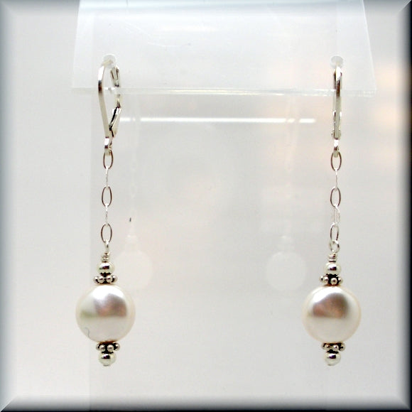 White coin pearl dangle earrings in sterling silver