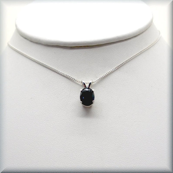 black oval CZ necklace on sterling silver curb chain