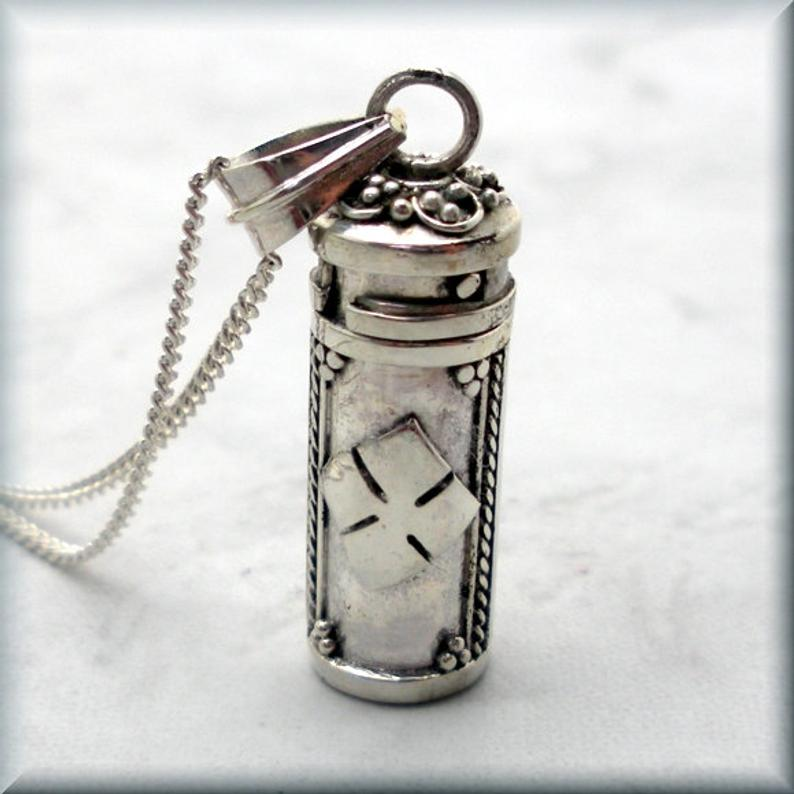 diamond pattern sterling silver poison box necklace
