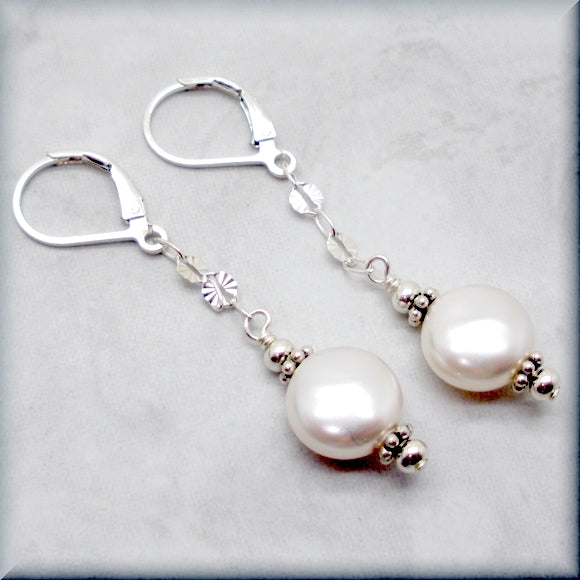 Swarovski coin pearl earrings with silver accents