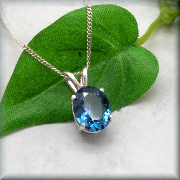 Oval Blue Zircon Necklace - December Birthstone