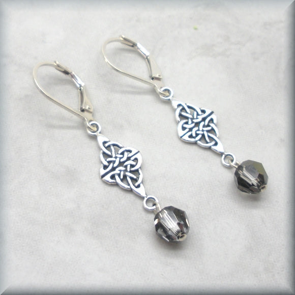 Sterling silver crystal silver night earrings with Celtic knot component