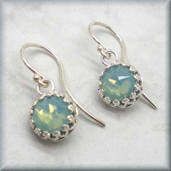 Sterling silver pacific opal crystal earrings