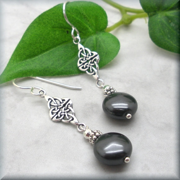 Black Swarovski Crystal Coin Pearl Earrings with Celtic Accent