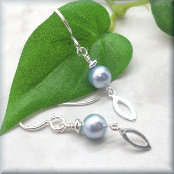 Light Blue Crystal Pearl Earrings with Marquise Dangle