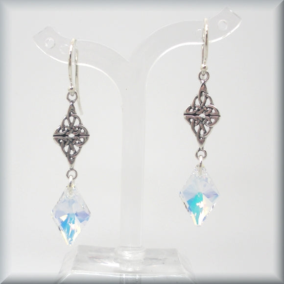 Celtic AB crystal earrings in sterling silver