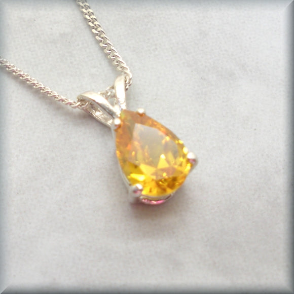 Pear shaped yellow cubic zirconia sterling silver necklace by Bonny Jewelry
