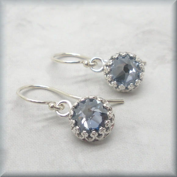 Bezel set crystal blue shade earrings