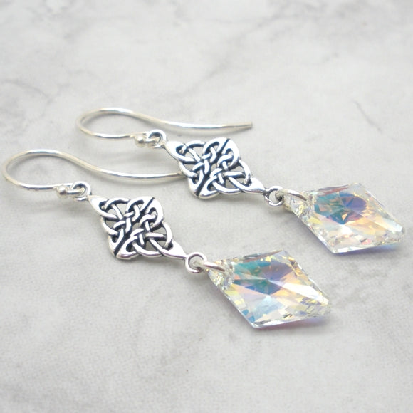 Sparkling crystal AB earrings with Celtic accent