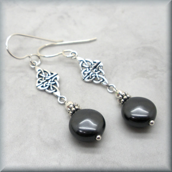 Black coin pearl earrings by Bonny Jewelry