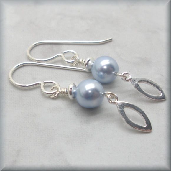 Light blue earrings with marquise drop accent
