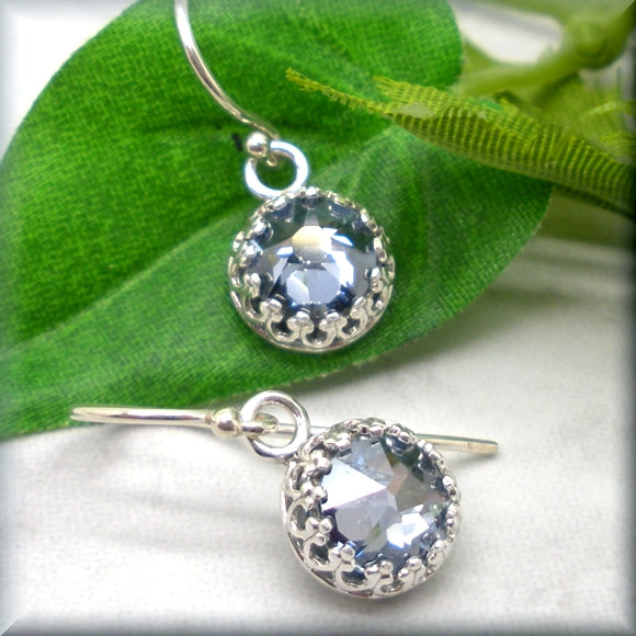 Swarovski crystal earrings in crystal blue shade