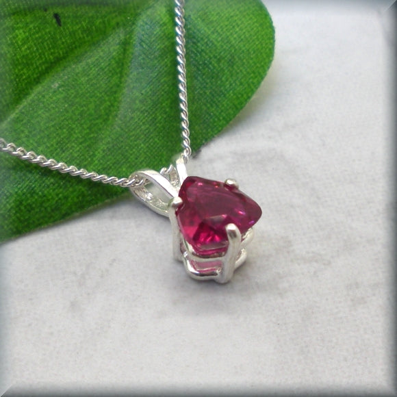triangle ruby necklace in sterling silver