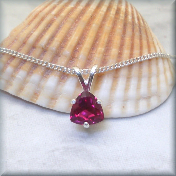 Trillion Cut Ruby Necklace in Sterling Silver - Kaira