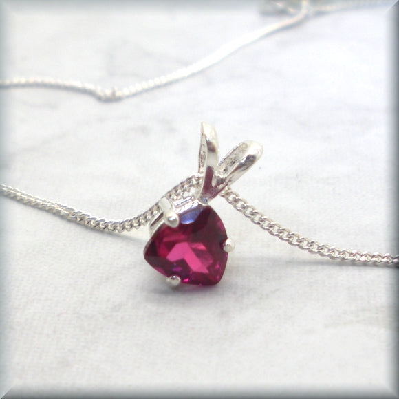 trillion cut ruby pendant