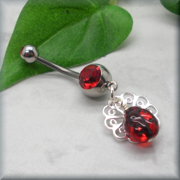 Red ladybug belly ring