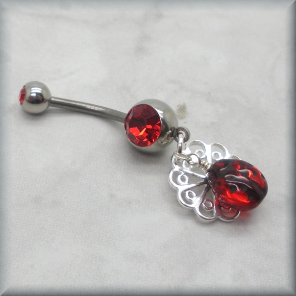 Ladybug belly ring for navel piercing