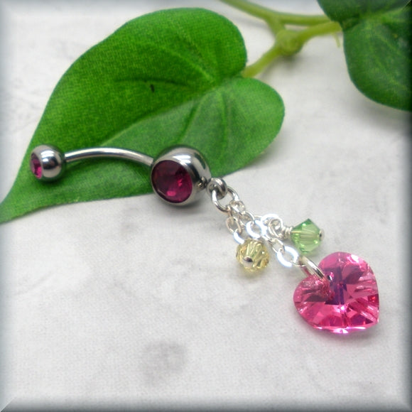 Pink Heart Crystal Belly Ring